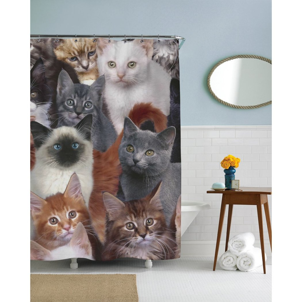Kids Cats Days Themed Shower Curtain Cute Faces Cool Cat Pattern Adorable Pretty Kitties Bathtub Curtain Color Pet Animal Elastic Polyester - Diamond Home USA