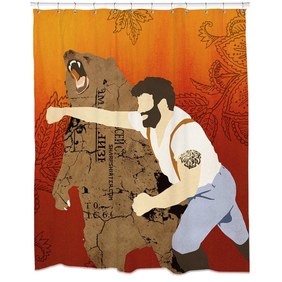 Orange Brown Graphic Art Themed Shower Curtain Plastic Detailed Colorful Lumber Jack Punching Grizzly Bear Printed Abstract Graphical Pattern Modern - Diamond Home USA