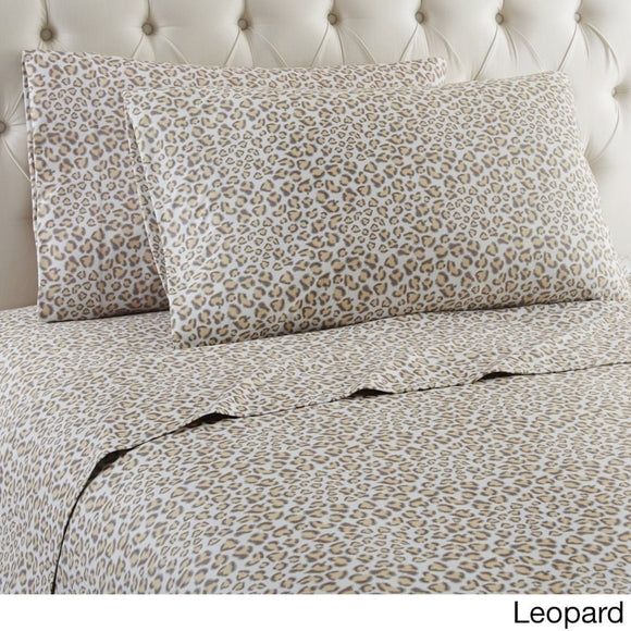 Leopard Themed Sheets Set Luxurious Wild African Safari Zoo Jungle Exotic Animal Bedding Features Wrinkle Shrink Resistant Polyester Kids
