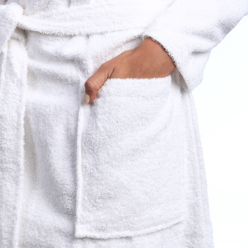 White Solid Color Extra Large Unisex Bathrobe Ivory Shawl Collar Robe Men Women Soft Lightweight Loose Belt Long Sleeves Halfcalf Length Pockets Terry Cloth Weave Turkish Cotton