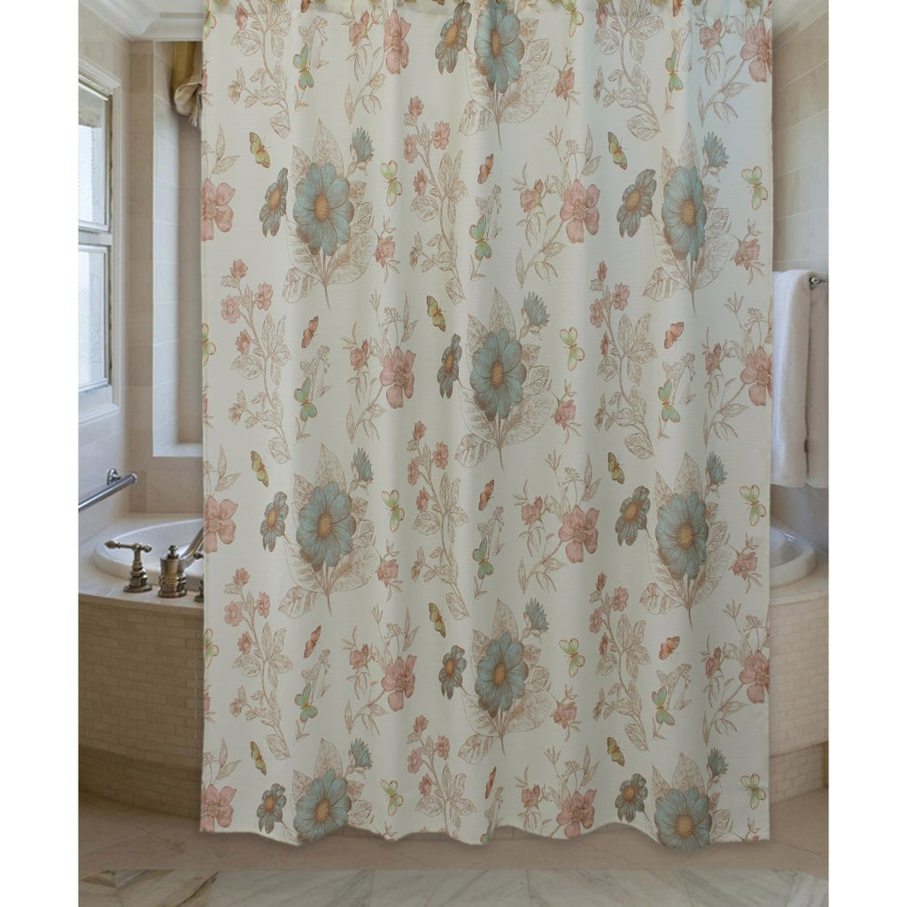 light pink blue graphical nature themed shower curtain polyester lightweight