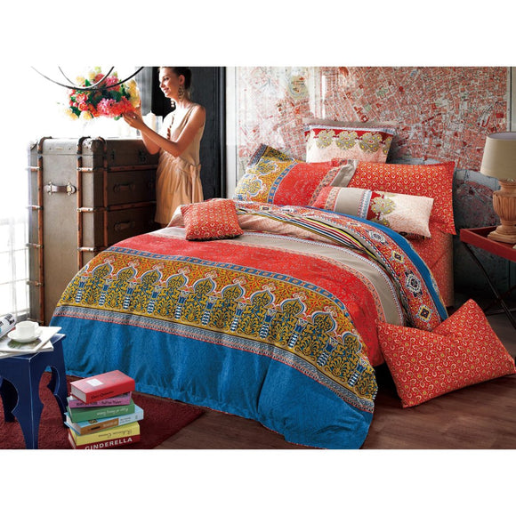 Moroccan Floral Stripes Pattern Duvet Cover Set Elegant Geometric Motif Design Boho Chic Hippy Indie Printed Bedding Vibrant