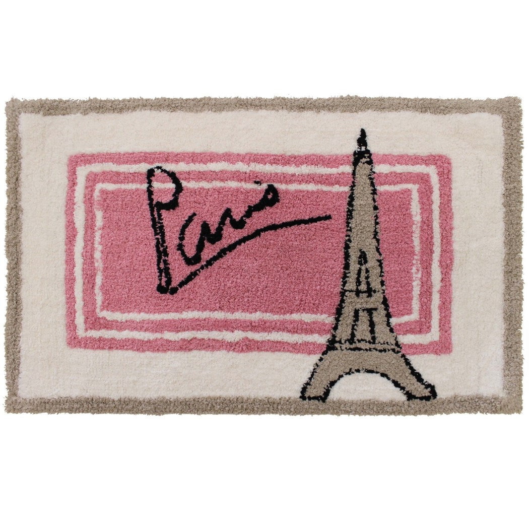 20 x 30 Pink White Tan Taupe Brown Black Paris Signature Eiffel Tower Bath Mat Rectangle Indoor Novelty City Love Area Mat Graphic Pattern - Diamond Home USA