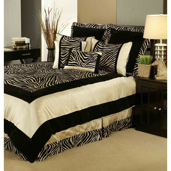 Zebra Comforter Set Safari Adult Bedding Master Bedroom Stylish Flocked Animal Border Pattern Hunting Themed