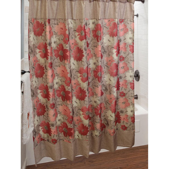 Brown Red Graphical Nature Themed Shower Curtain Polyester Lightweight Detailed Flowers Printed Abstract Floral Pattern Classic Elegant Design Rich - Diamond Home USA