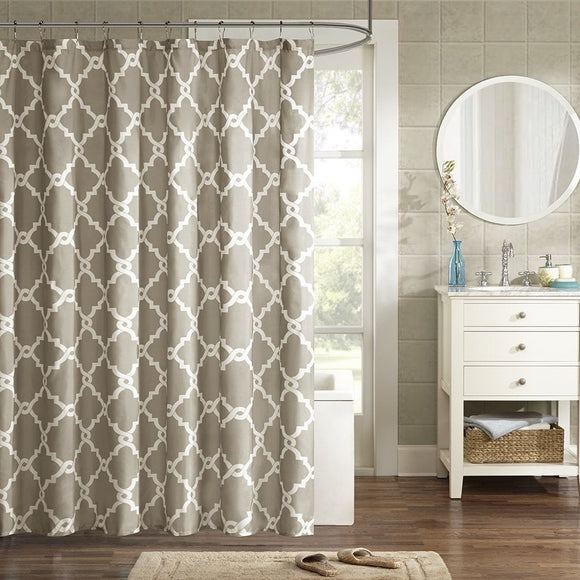Simple Geometric Casual Shower Curtains Taupe Off-white Graphic Print Victorian Polyester - Diamond Home USA
