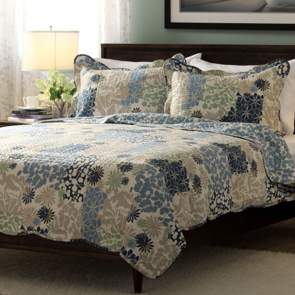 Floral Quilt Set Geometric Paisley Patchwork Flowers Geometrical French Country Vintage Nature Bedding Microfiber
