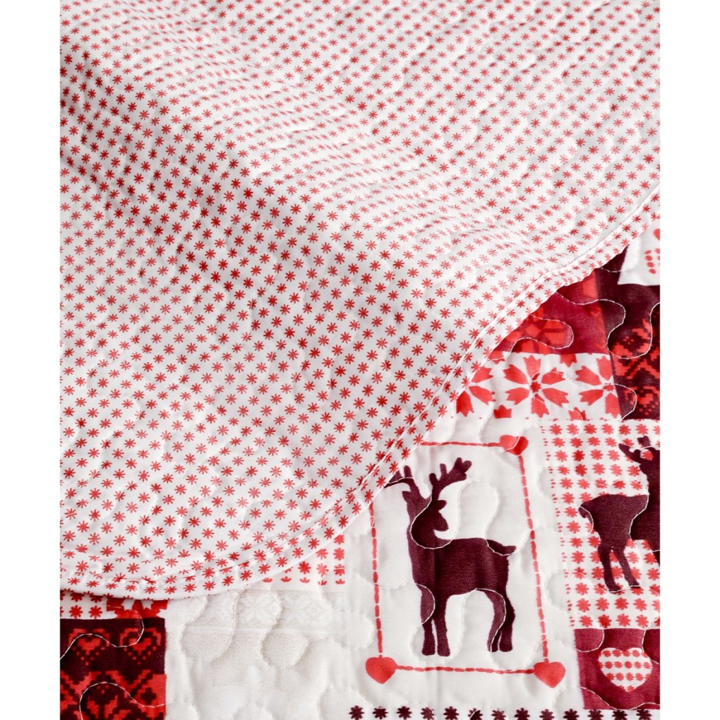 Reindeer Themed Quilt Set Christmas Pattern Bedding mas Trees Deer Snowflakes Wildlife Log Cabin Lodge Design Holiday Spirit