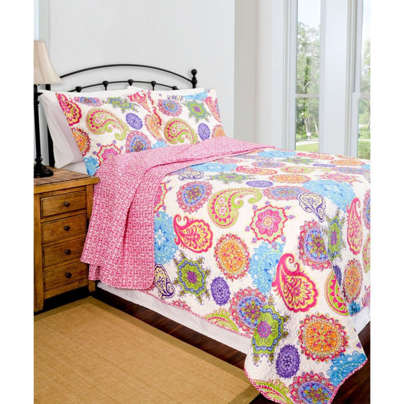 Girls Medallion Quilt Set Bohemian Boho Chic Bedding Floral Paisley Mandala Motif Themed Pretty Printed Bedding Vibrant