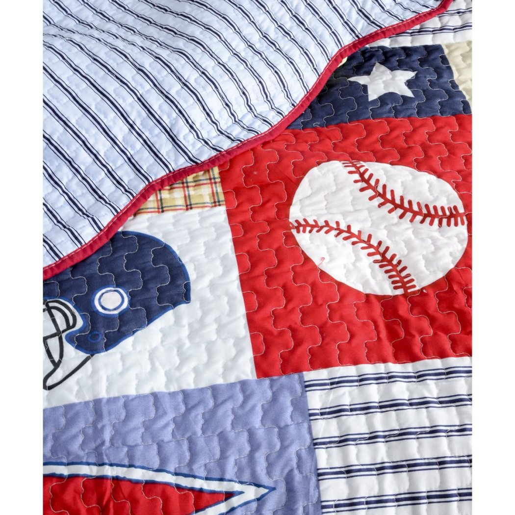 Kids Sports Pattern Patchwork Quilt Football Basketball Active Stars Horizontal Stripes Sport Cotton Microfiber