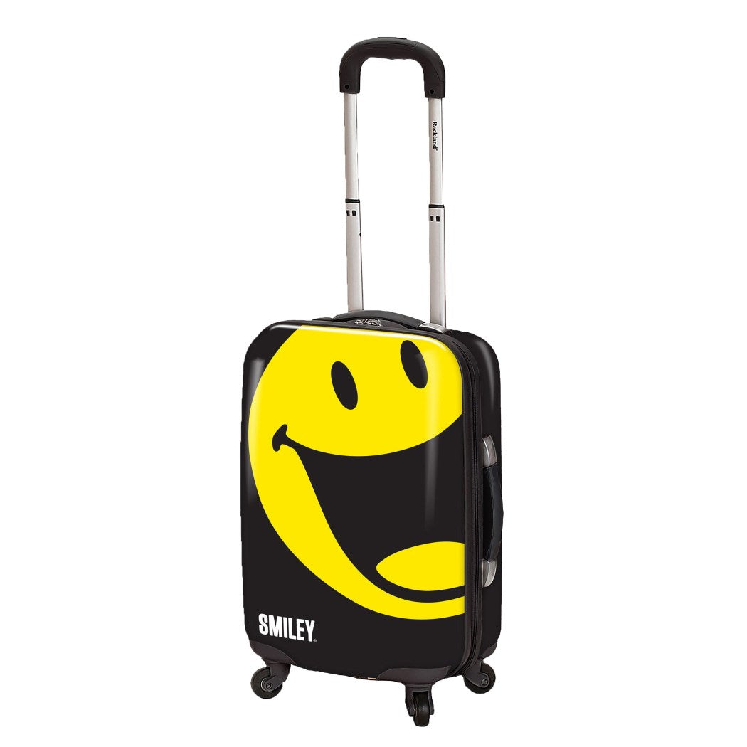 Black Yellow Smiley Face Theme Hardtop Luggage Fun Happy Smile Themed Pattern Upright Rolling Lightweight Hardside Hardshell Polycarbonate Carry - Diamond Home USA