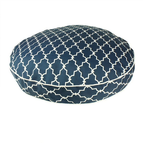 Extra Large Trellis Pattern Dog Bed Modern Geometric Textured Pet Bedding Round Shape Features Water Fade Resists Removable Cover Soft
