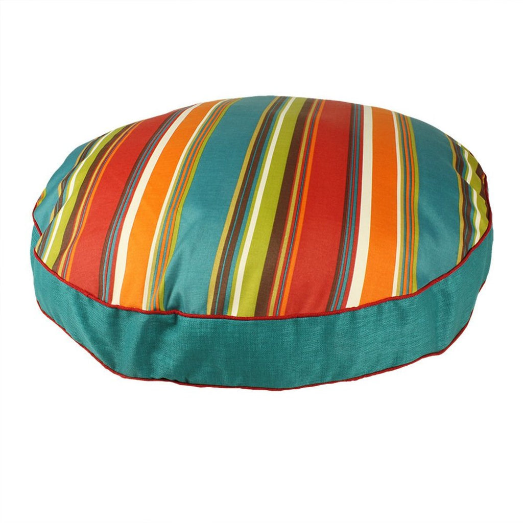 Large Rugby Stripes Pattern Dog Bed Elegant Rainbow Stripe Inspired Pet Bedding Round Shape Features Water Fade Resists Removable Cover
