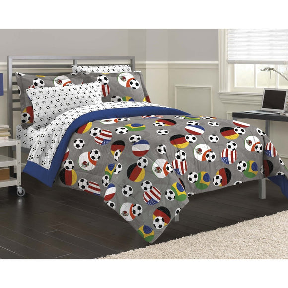 Boys Soccer Fever Comforter Set Stylish Football Sports Balls Themed Sport Fan Ball Game Bedding America Brazil France Germeny Mexico Flag
