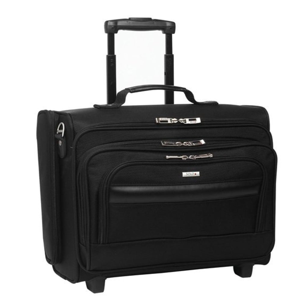 Black Wheeling Briefcase 15 4 inch Laptop Briefcase Compartment Business Softsided Wheeled Type Polyester Solid Pattern Telescopic Handle System - Diamond Home USA