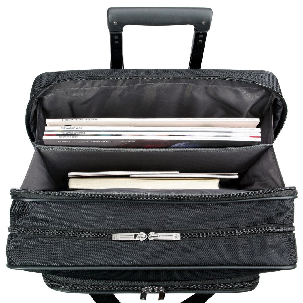 Black Wheeling Briefcase Solid Pattern Rolling 15 4 Inch Laptop Case PolyTwist Materials Space Protection Ideal Business Trips Zippered Back Pocket - Diamond Home USA