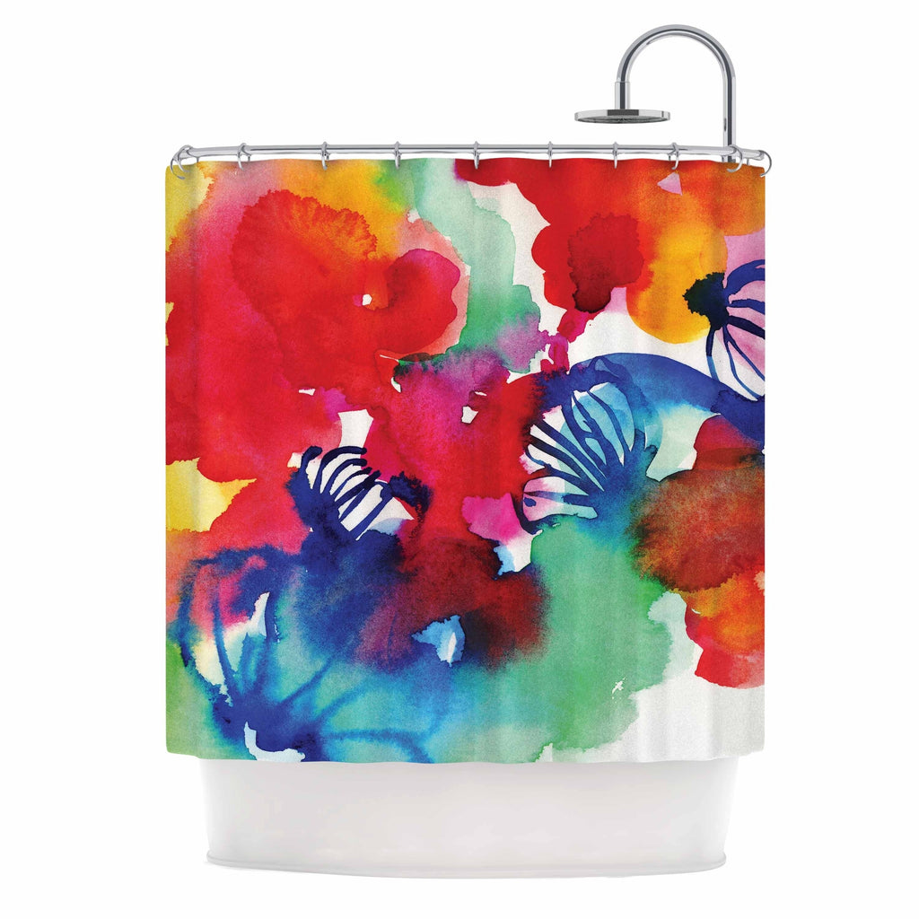 "Sonal Nathwani "" Celebration Floral"" Multicolor Red Painting Shower Curtain Polyester - Diamond Home USA"