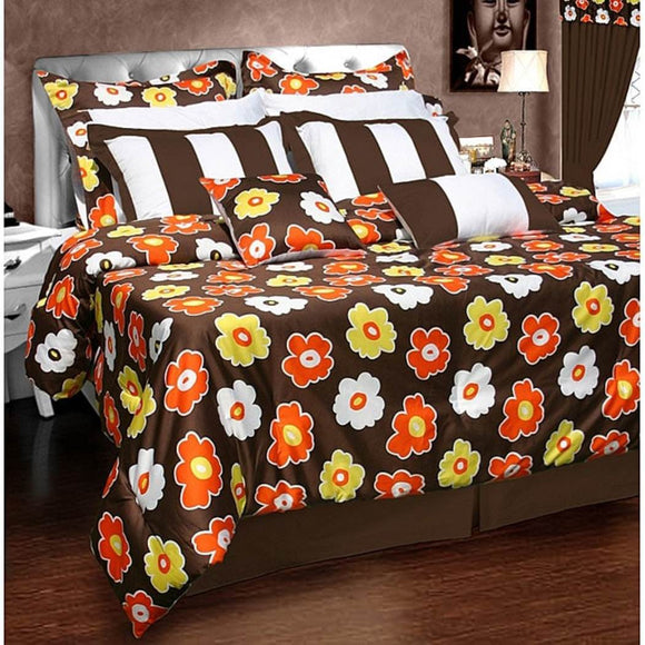 Comforter Set Floral Pattern Stylish Luxury Bedding Modern Master Bedrooms Vibrant White