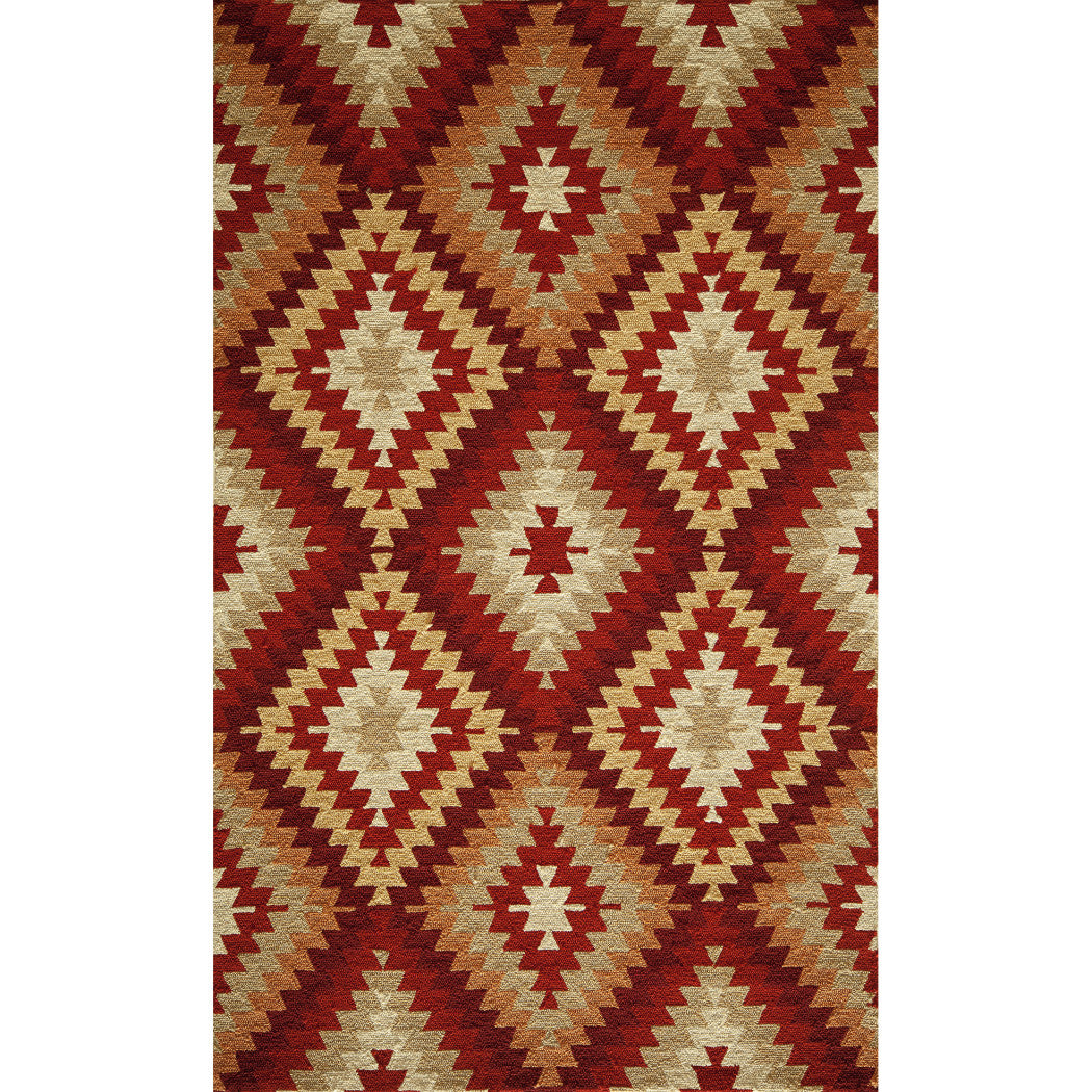 2'x3' Red Brown Beige Tribal Diamonds Printed Runner Rug Indoor Outdoor Geometric Pattern Living Room Rectangle Carpet Graphic Art Themed Vibrant - Diamond Home USA