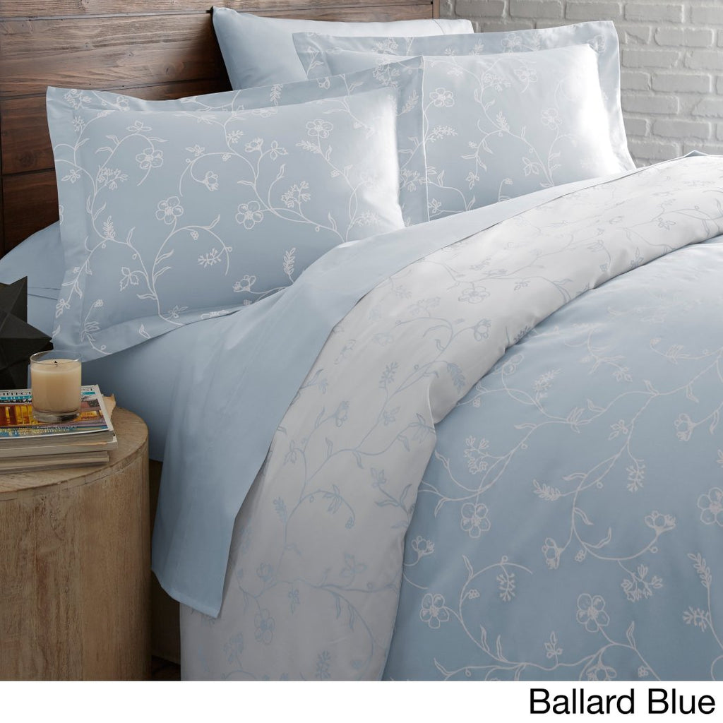 Ballard Leaf Swirl Duvet Cover Set Solid Adult Bedding Master Bedroom Flower Bohemian Pattern Floral Luxurious