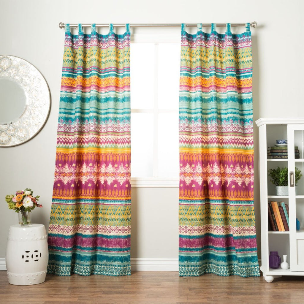 Fuchsia Gold Bohemian Window Curtain Set 84 Inch Pink Chevron Drape Stripes Diamond Tribal Geometric Native Light Filtering Window Drapery Vintage - Diamond Home USA