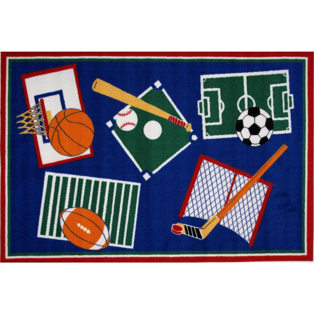 "3'3""x4'8"" Boys Blue Green Soccer Rugby Baseball Basketball Hockey Fields Printed Accent Rug Indoor Graphical Pattern Living Room Rectangle Carpet - Diamond Home USA"