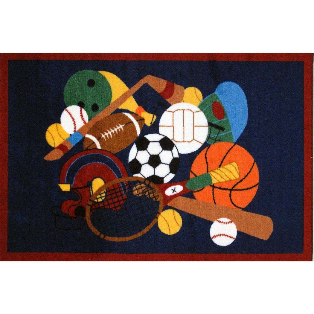 "3'3""x4'8"" Boys Blue Brown Orange Playing Bats Baseball Volleyball Tennis Basketball Printed Accent Rug Indoor Graphical Pattern Living Room Rectangle - Diamond Home USA"