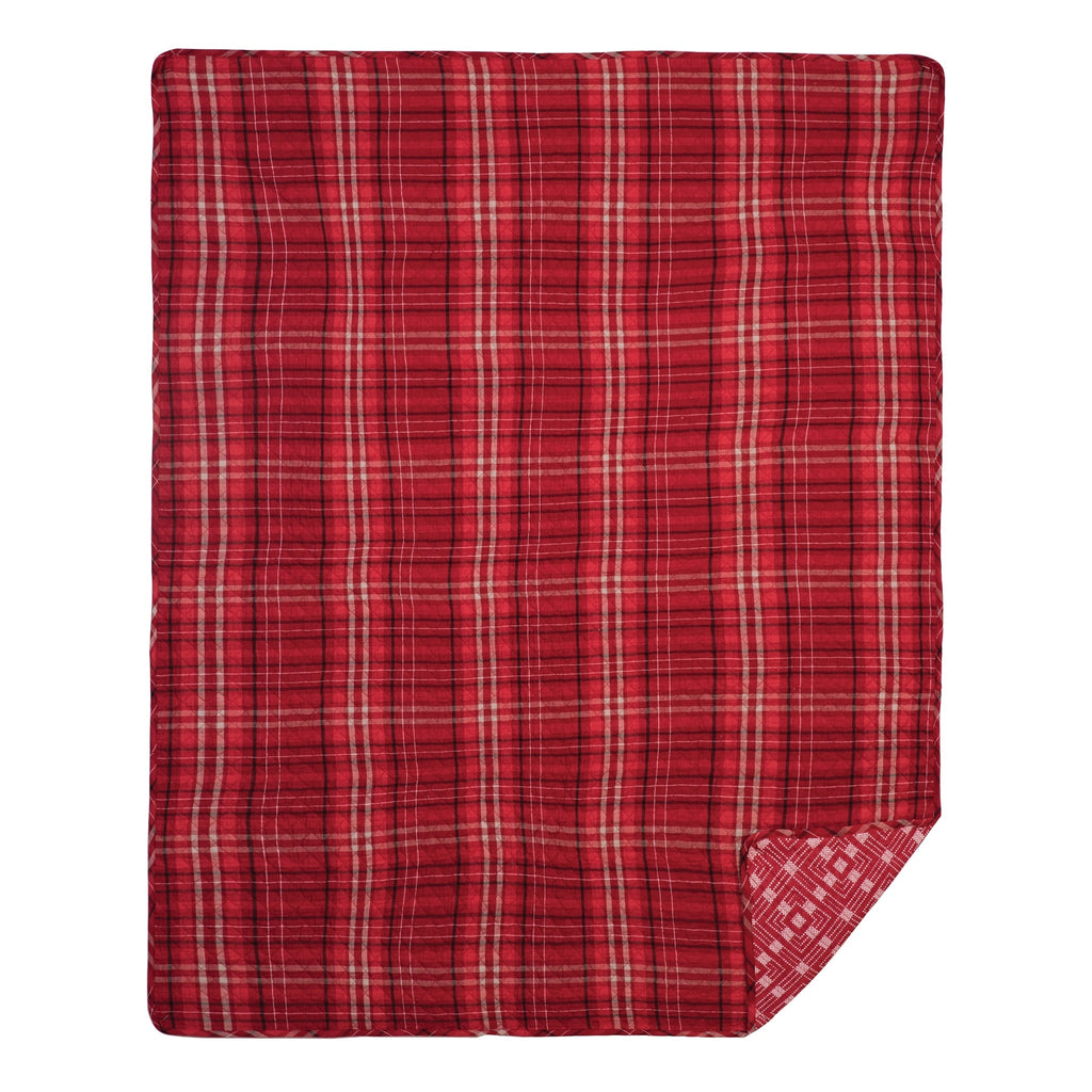 Carter Plaid Red Quilted Throw Rustic Cotton - Diamond Home USA