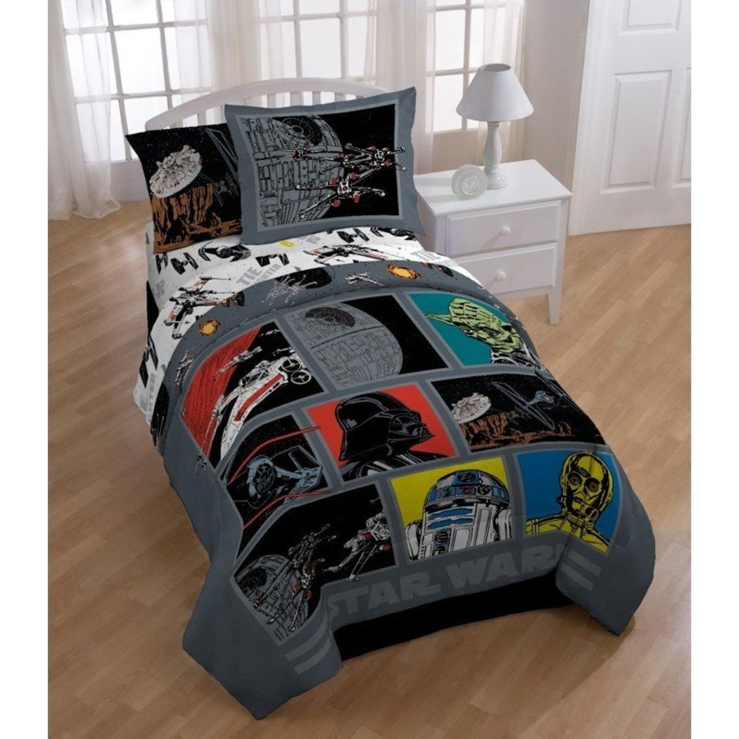 Boys Star Wars Movie Patchwork Comforter Twin Set Kids Retro Starwars Patch Work Graphic Bedding Color Classic Death Character Darth Vader Themed - Diamond Home USA