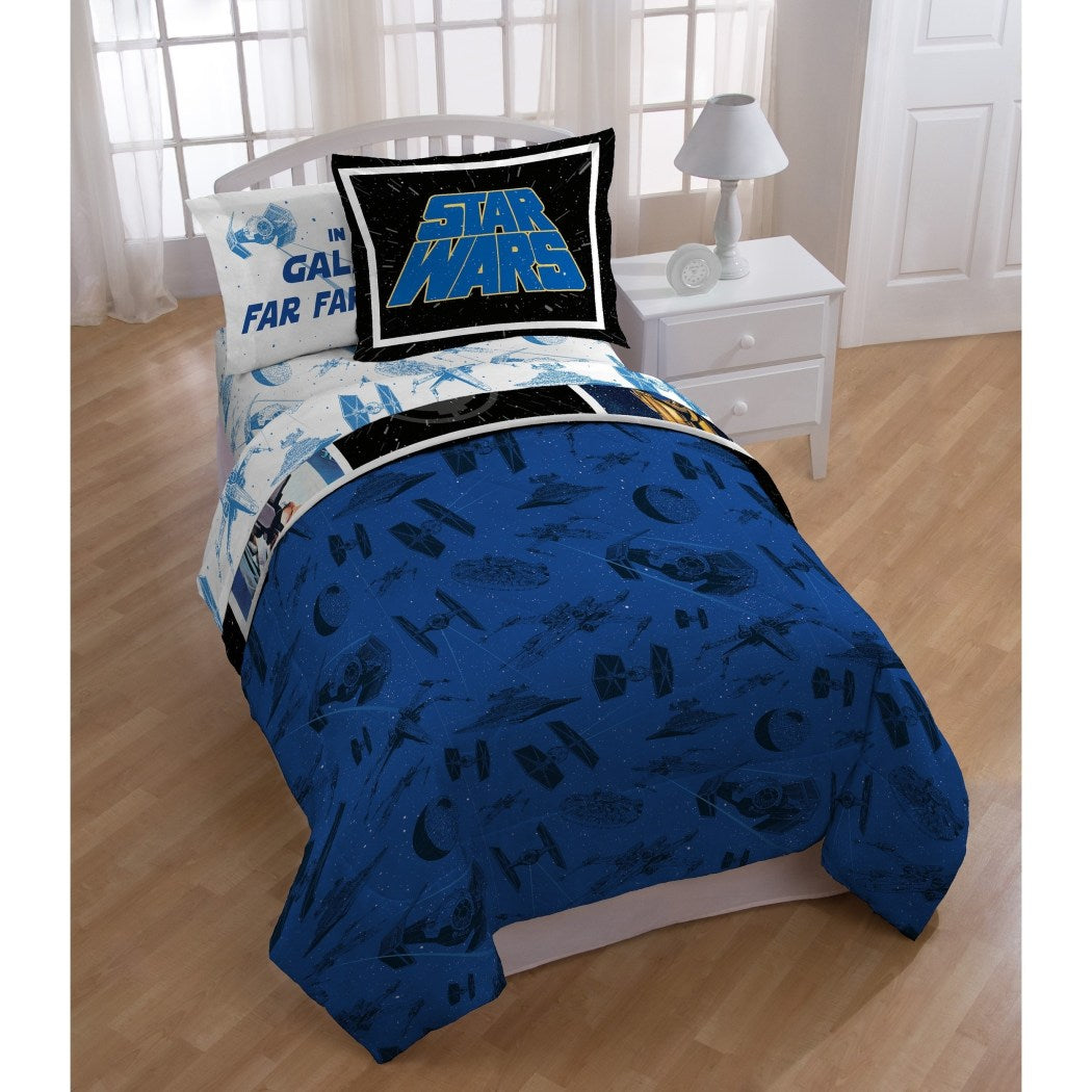 Kids Blue White Star Wars Movie Themed Comforter Twin Set Classic Blue Starwars Movie Series Bedding Darth Vader R2D2 C3PO Han Solo Character Patch - Diamond Home USA