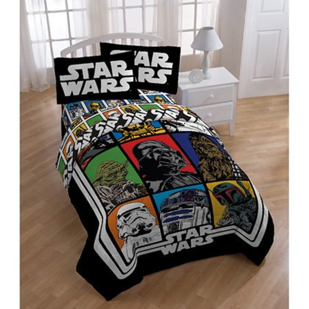 Boys Star Wars Movie Patchwork Comforter Twin Set Kids Retro Starwars Patch Work Graphic Bedding Color Character Darth Vader Yoda Chewbacca Storm - Diamond Home USA