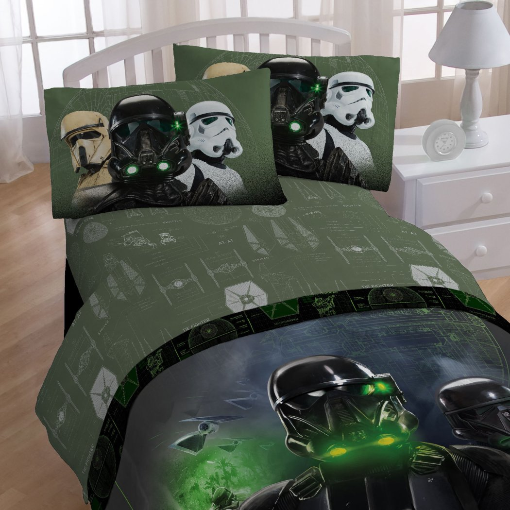 Boys Black Green Star Wars Movie Comforter Twin Set Starwars Rogue One 1 Stormtrooper Graphic Bedding Character Imperial Storm Trooper Themed - Diamond Home USA