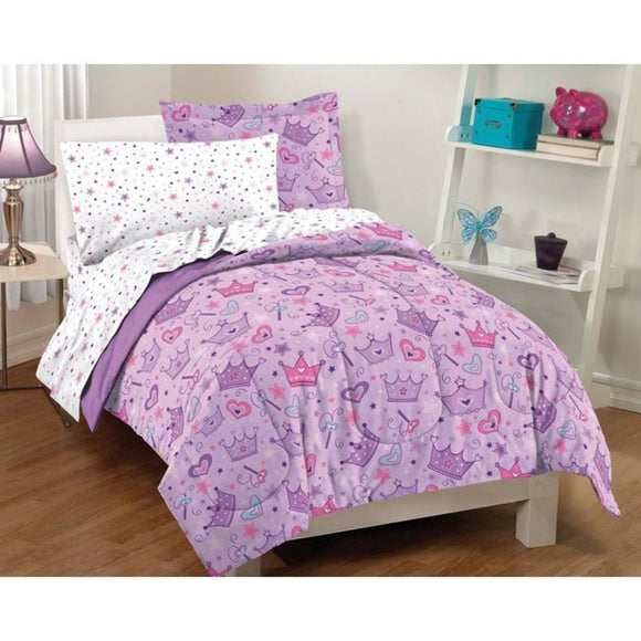 Princess Crowns & Magic Wands Girls Twin Comforter Set (5 Piece Bed Bag) - Diamond Home USA