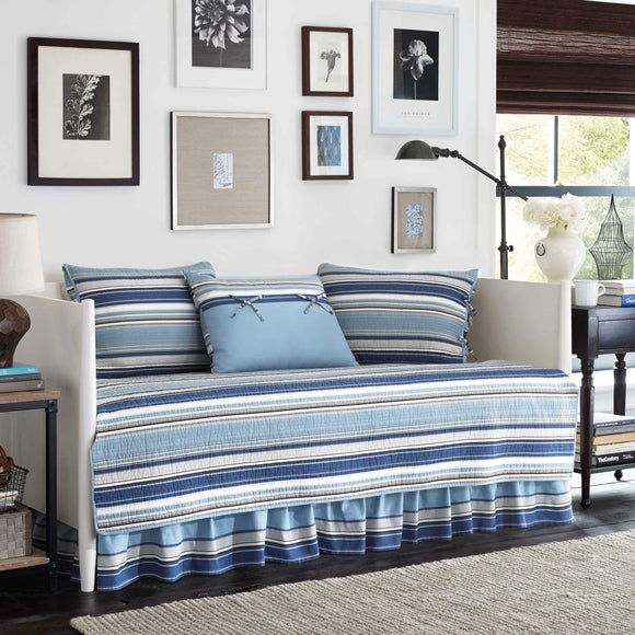 Stone Cottage Fresno Blue 5-piece Quilted Daybed Cover Set Striped Cotton - Diamond Home USA