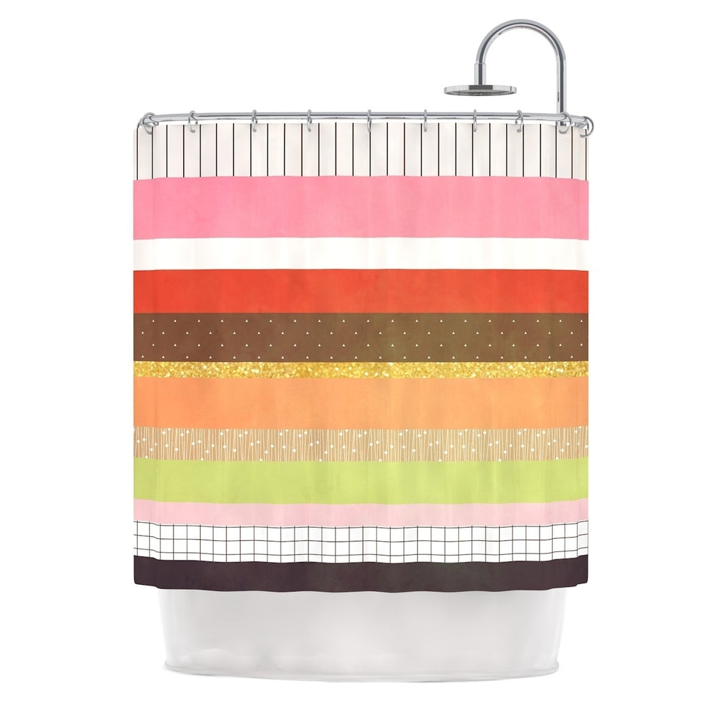 "Strawberringo "" Mix"" Multicolor Hodge Podge Shower Curtain Pink Polyester - Diamond Home USA"