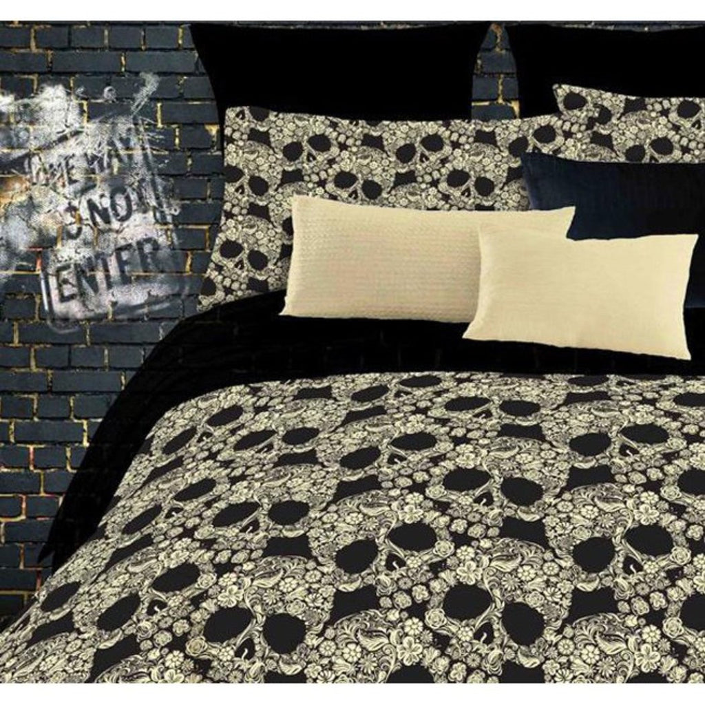 Girls Black Flowers Skulls Comforter Full Set Floral Bohemian Bedding Gorgeous Dark Night Skull Floral Prints Indie Inspired Hippy Spirit Vibrant - Diamond Home USA