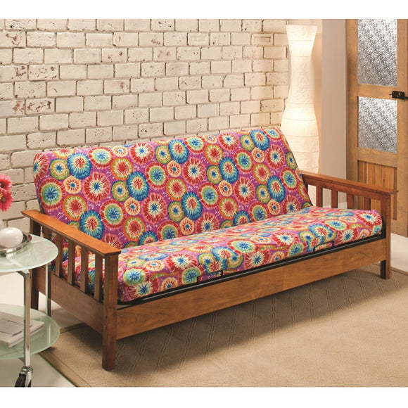 Tie Dye Themed Futon Cover Artistic String Dye Adorable Colorful Texture Design Bedding Vibrant Colors - Diamond Home USA