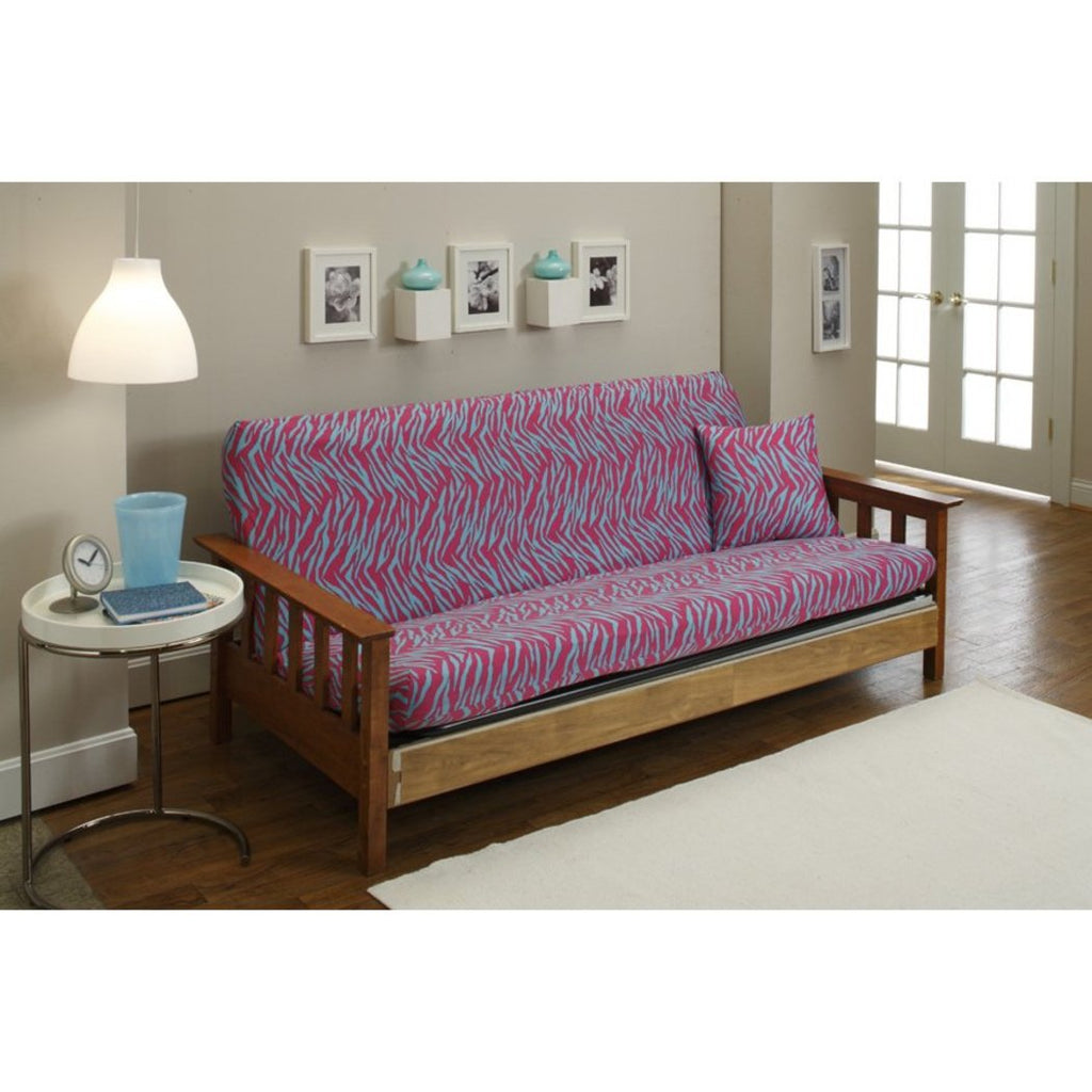 Zebra Themed Futon Cover Zoo Animal Pattern Adorable Colorful Zebra Stripes Bedding Abstract Blue Pink - Diamond Home USA