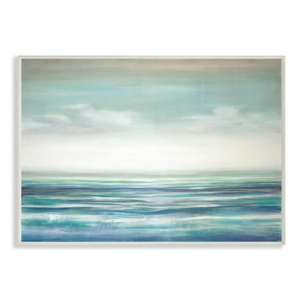 10' x 15' Blue Grey Beach Theme Wall Art Rectangle Gray Beige Sunset Pattern Hanging Picture Coastal Nautical Wood Plaque Tropical Waves Ocean Sea - Diamond Home USA