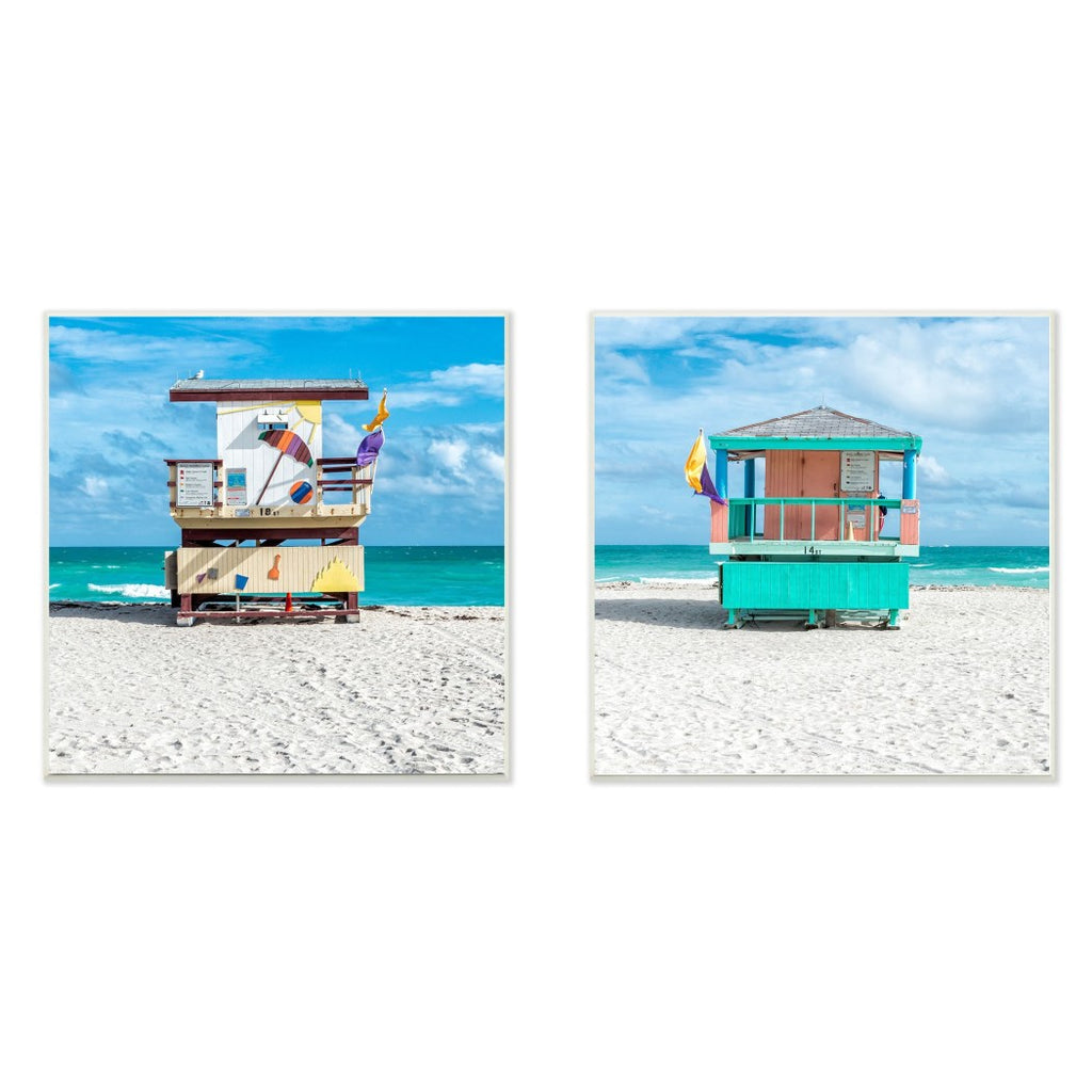 12' x 12' Blue Green Beach Theme Wall Art Square Red Purple Sea Themed Hanging Picture Lake House Ocean Shack Yellow Tan Coastal Nautical Pattern - Diamond Home USA
