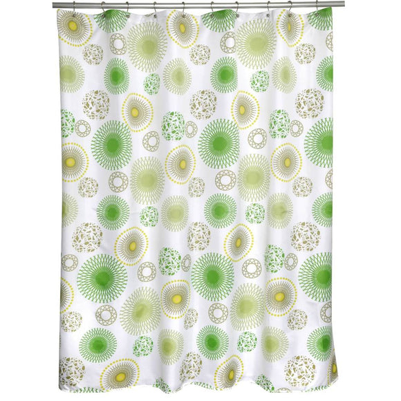 Lime Green Yellow Geometric Pattern Shower Curtain Polyester Abstract Graphical Themed Detailed Colorful Spiral Ball Printed Modern Elegant Design - Diamond Home USA