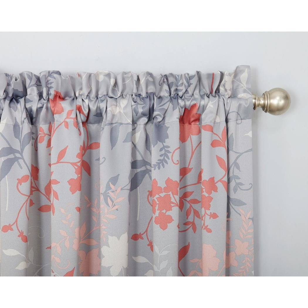 Floral Window Curtain Flowers Drape Nature Foliage Silhouette Room ening Noise Reducing Drapery Energy
