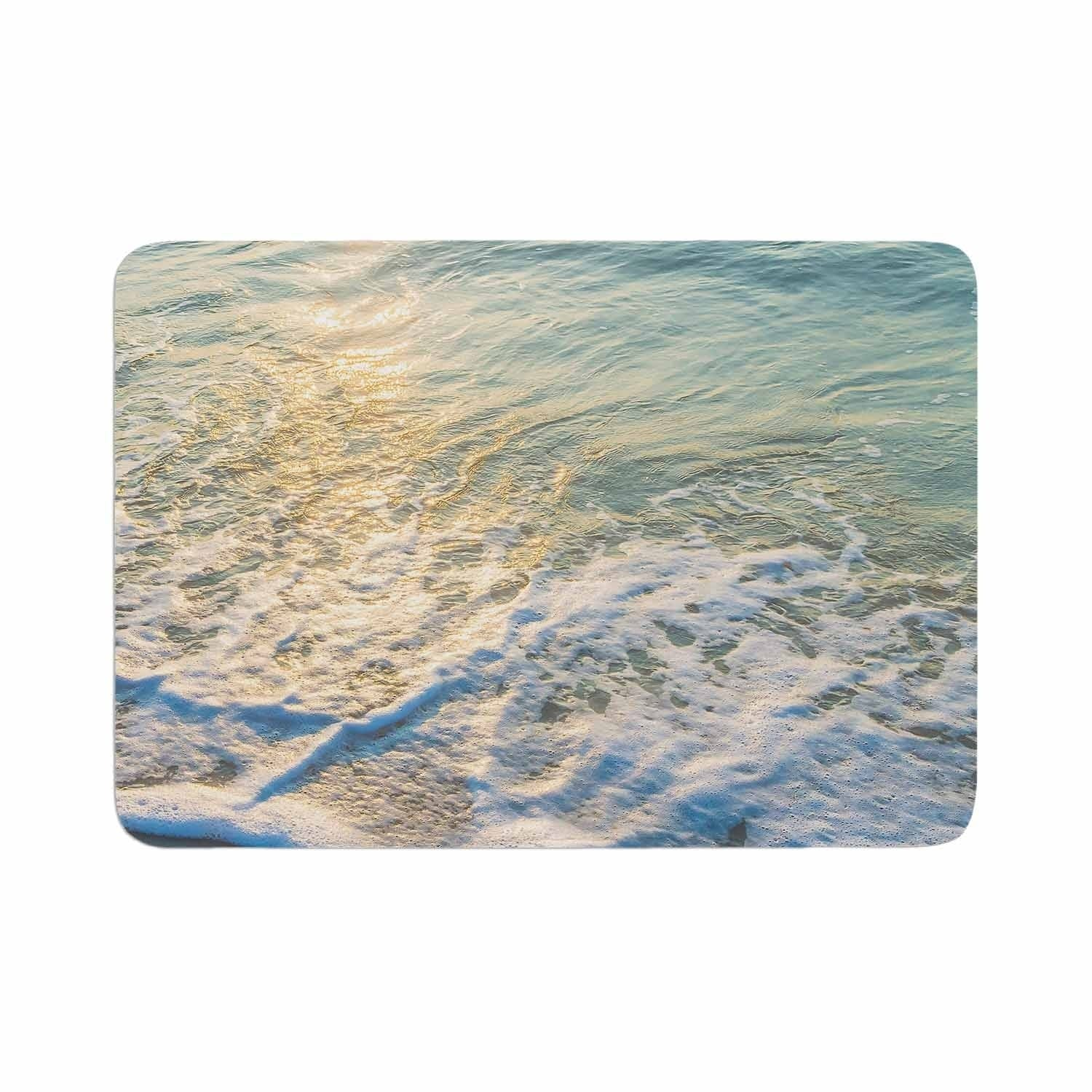 "Susan Sanders ""Ocean Beach Water"" Memory Foam Bath Mat Brown Single Piece - Diamond Home USA"