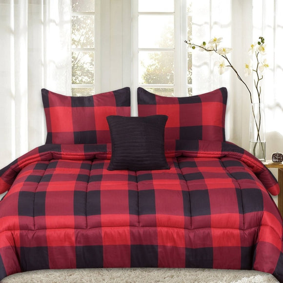 Check Plaid Comforter Set Lumber Jack Check Madras Plaided Themed Bedding Checkered Tartan Lodge Cabin Pattern