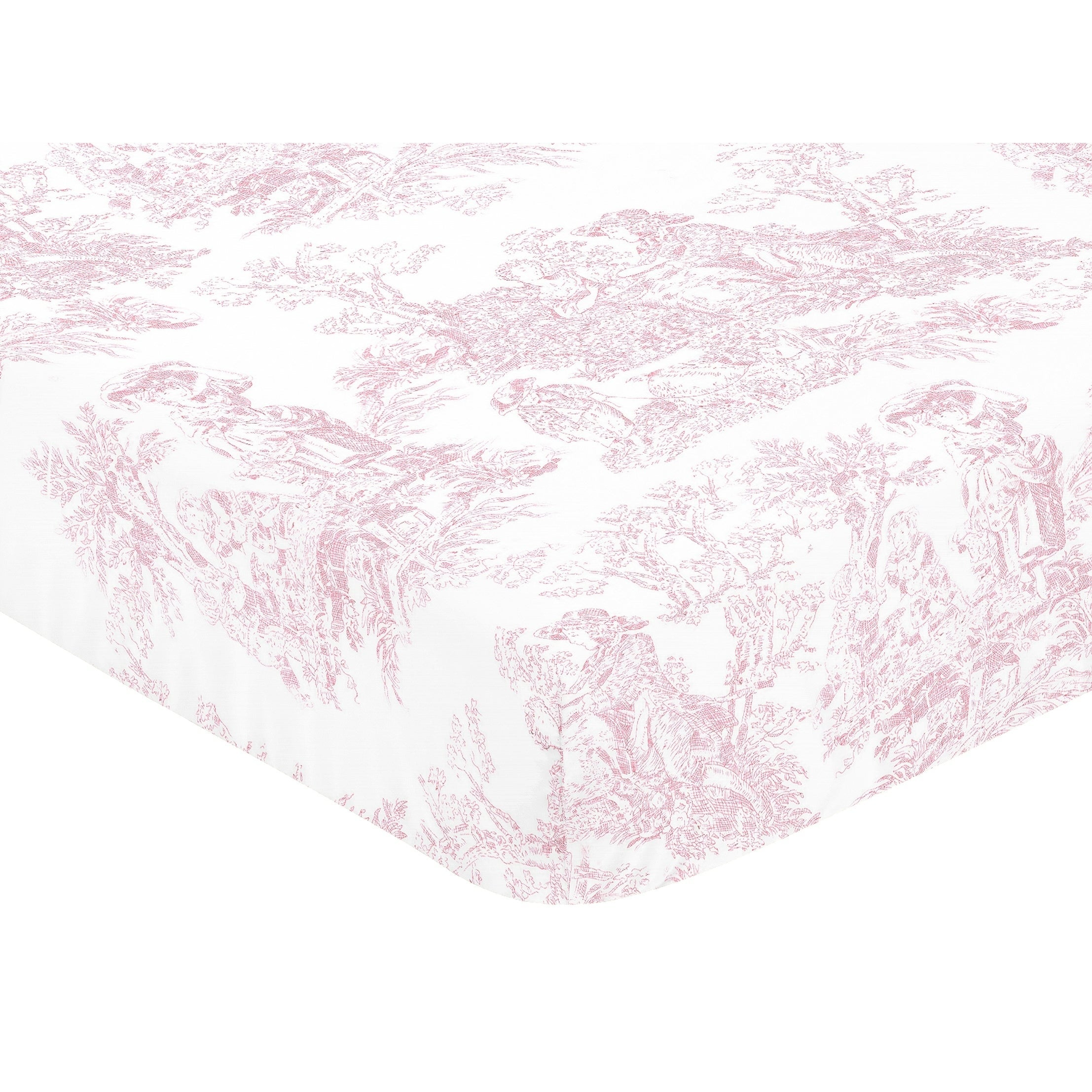 Sweet JoJo Designs Pink French Toile Fitted Crib Sheet Multi Color Girls Baby Girl Cotton - Diamond Home USA
