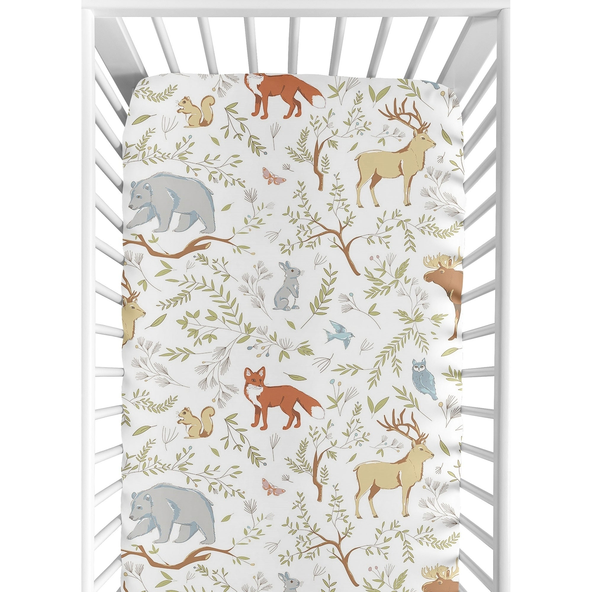 Woodland Toile Collection Fitted Crib Sheet Multi Color Animal Print Neutral Nature Cotton - Diamond Home USA