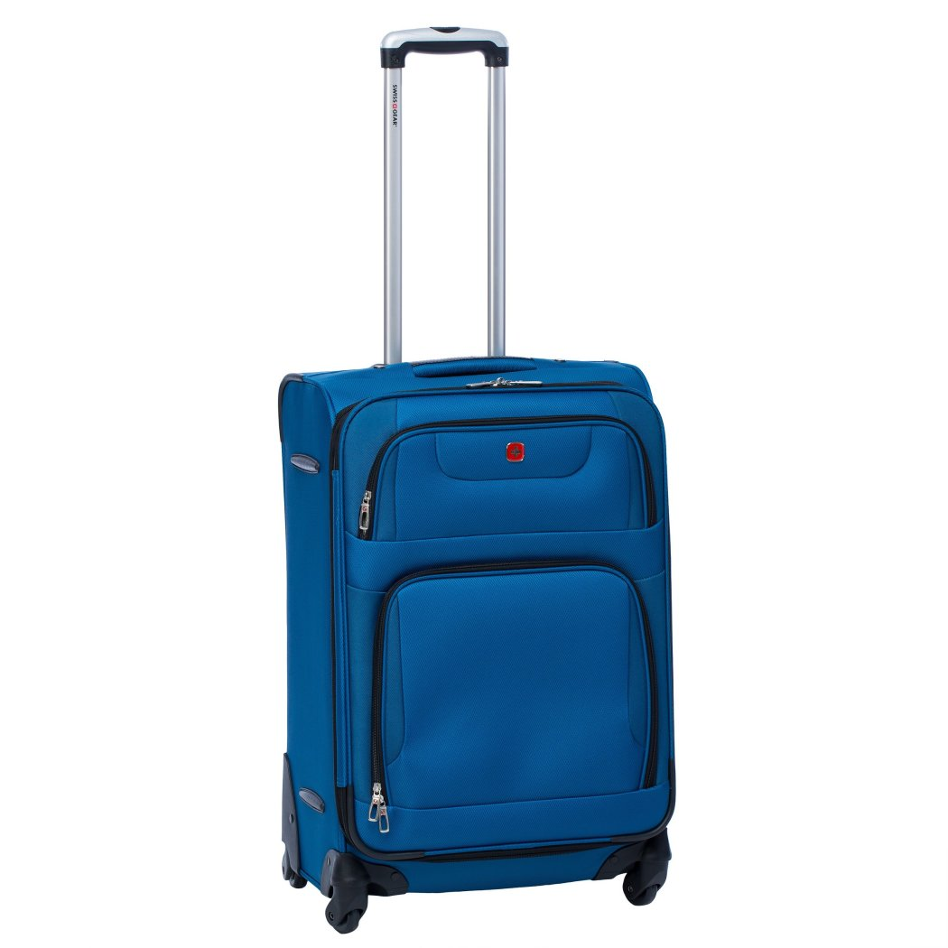 Blue Lightweight Wheeled Briefcase 24 Inch Solid Pattern Polyester Spinner - Diamond Home USA