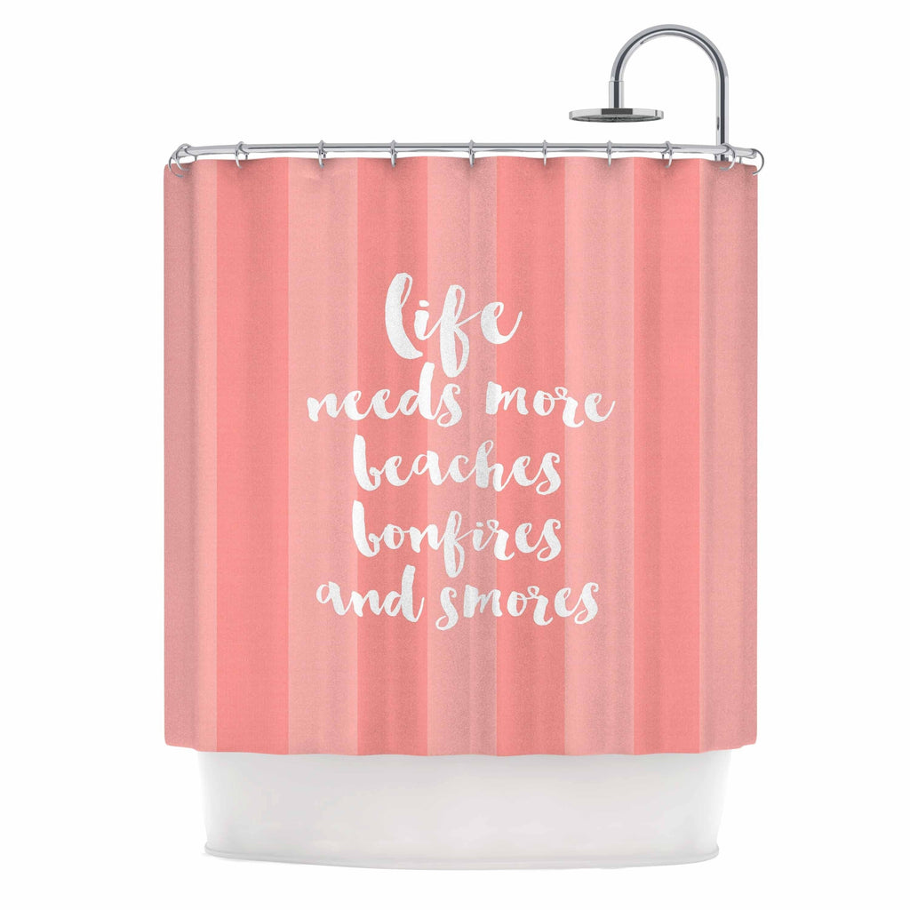 "Sylvia Cook ""beaches and bonfires coral"" Pink Typography Shower Curtain Polyester - Diamond Home USA"