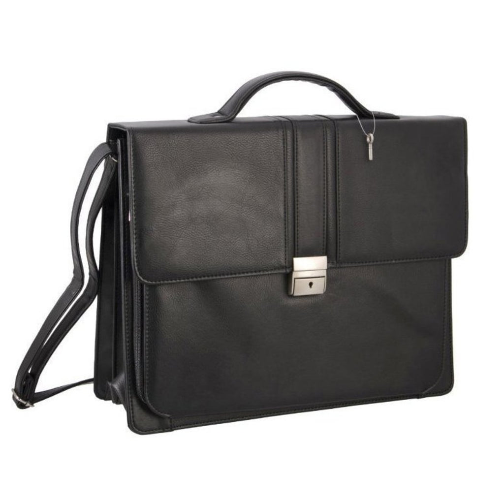 Black Professor Briefcase Synthetic Leather Solid Pattern Stylish Look - Diamond Home USA
