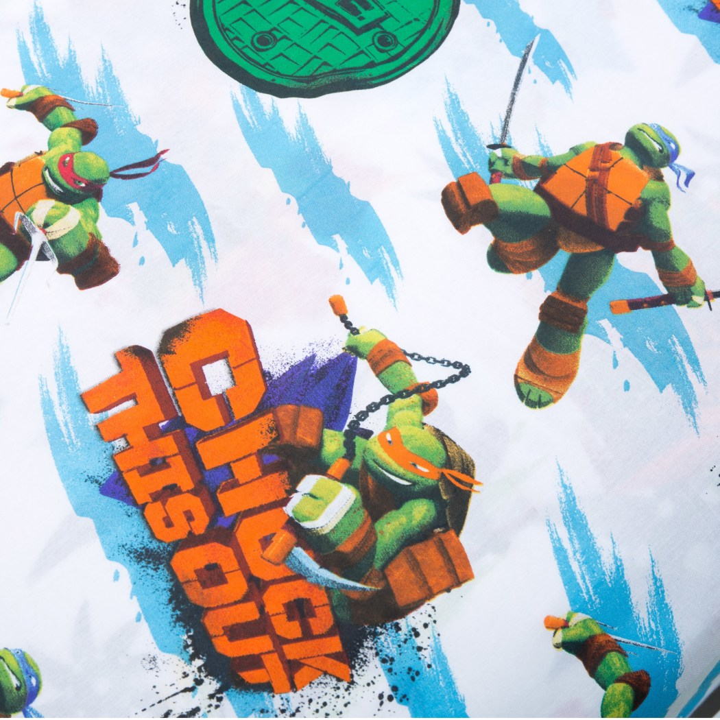 Teenage Mutant Ninja Turtles Themed Sheet Twin Set Awesome Turtles Fun Pattern Pretty Cartoon Design Vibrant Colors Kids Teenage Polyester - Diamond Home USA